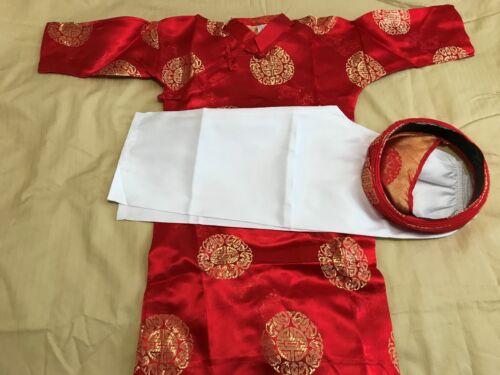 Vietnamese Ao Dai Boys Red - Size 7 & 9 - 3 Piece Set