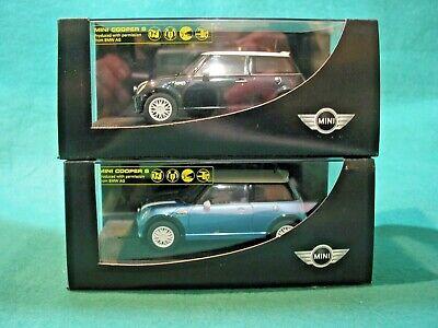 SCALEXTRIC BMW dealership Mini Cooper S Astro black / Electric blue PAIR...