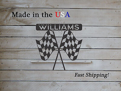 Checkered Flag Personalized Name Sign, Man Cave Child's Room Decor, Racing S1236