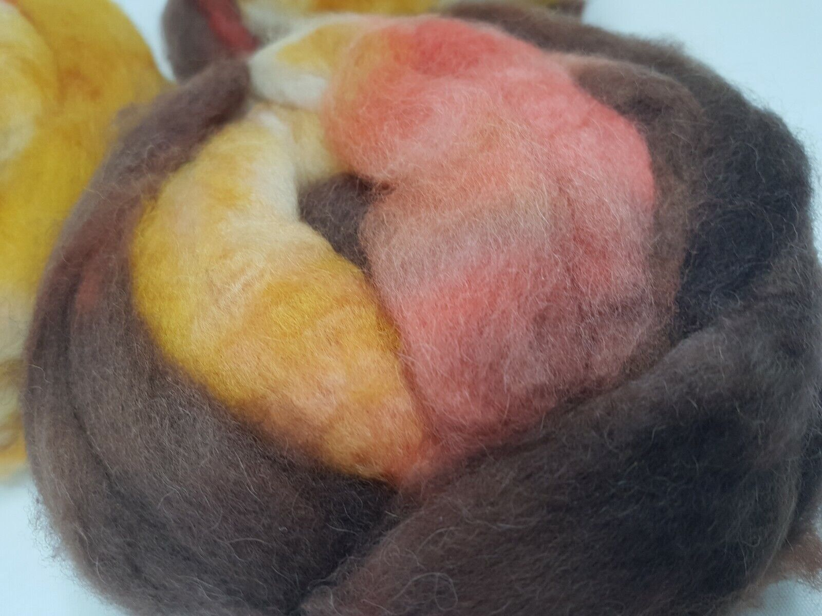 как выглядит Hand dyed BABY CAMEL roving, wool top, 50 g, AUTUMNAL SENTIMENT фото