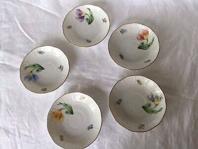 5 Vintage Herend Rothschild Flower Saucers Only 711/KY Various Colors Flowers