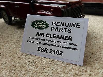 Land Range Rover Classic Defender Air Filter Cleaner Decal Label Badge ESR2102