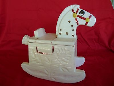 METLOX - Antique - White Hand Painted ROCKING HORSE Cookie Jar - Red Harness