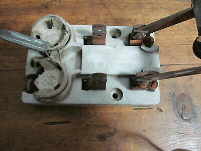 Vintage Porcelain 30 Amp Fused Knife Switch With Block Out Dummy Fuses