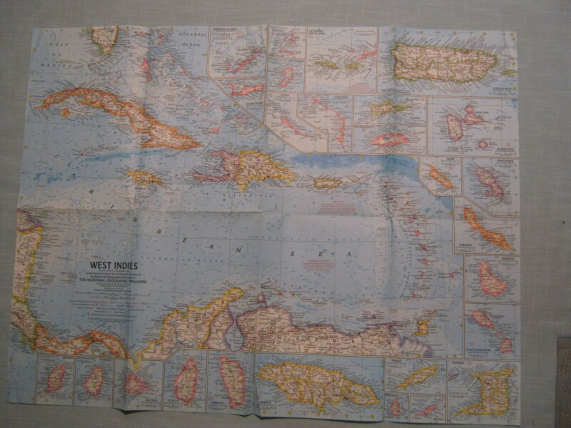 VINTAGE WEST INDIES MAP National Geographic December 1962 MINT