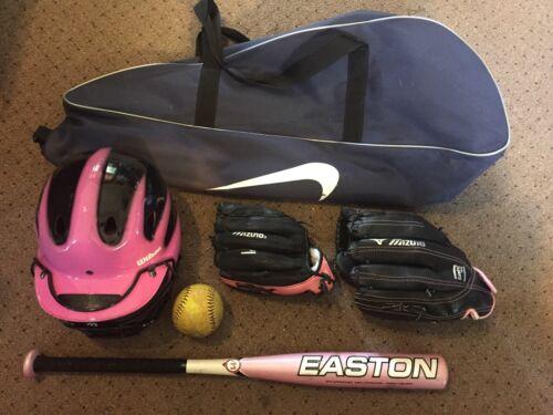 Lot Of Softball Eq pink girls bat helmet bag ball & 2 gloves Niki Wilson Easton
