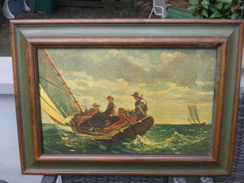Vintage Framed Winslow Homer Breezing Up A Fair Wind Canvas Print Large FREE SH - $149.95