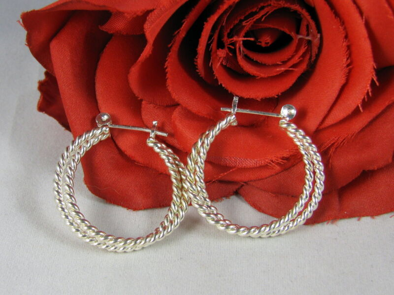 Sterling Silver Beautiful Hoops  Pierced Earrings  CAT RESCUE