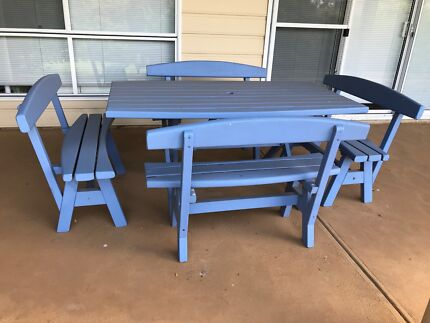 Outdoor timber table with 4 benches