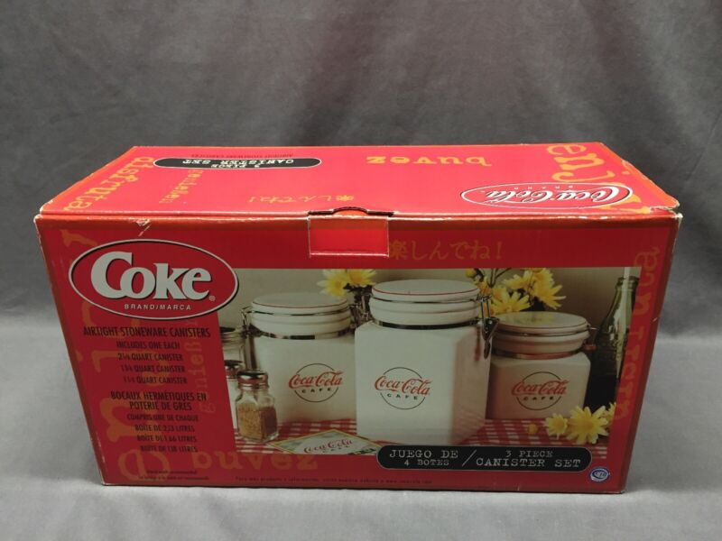 3 Piece Coca Cola Cafe Design Canister Set By Gibson Housewares. 2000 New