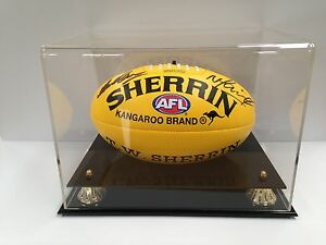AUTHENTIC DUAL-SIGNED MICK MALTHOUSE / NICK MAXWELL AFL FOOTBALL IN DISPLAY CASE