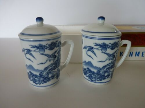 "Vintage Kinmen Porcelain Blue White Set of 2 Cups Mugs with Lids and Handles 4""H"