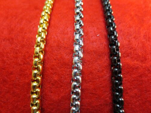 "Jewellery - 16""-60"" 4MM STAINLESS STEEL GOLD, SILVER, BLACK SMOOTH BOX ROPE CHAIN NECKLACE"