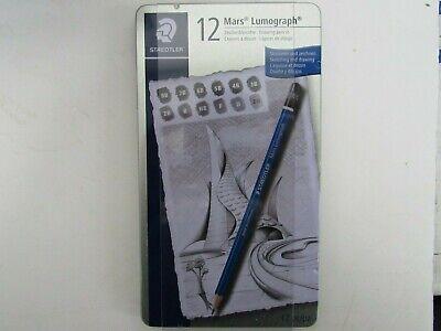 Staedtler Mars Lumograph Drawing Pencils - Soft Degrees Tin Of 12