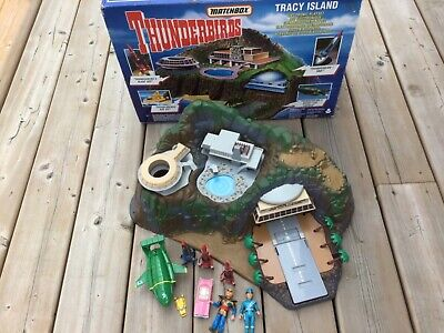 Thunderbirds Tracy Island With Box - 1993 Matchbox With Vehicles 1-4 & Figures
