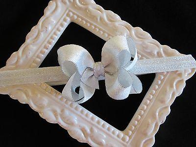 Silver shimmer Small hair bow headband FOE elastic clip Chri