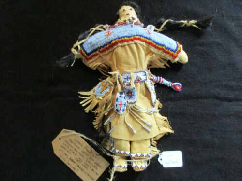 NATIVE AMERICAN BEADED LEATHER DOLL,  AUTHENTIC SOUTH DAKOTA DOLL  SD-0821*05725