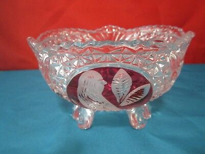 """Vintage Hofbauer""""Byrds""""Bird Ruby Red Clear-Cut Lead Crystal 3-Toed Bowl WGermany"""