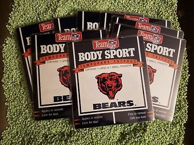 mporary Tattoos! 8 Packs of 1 large & 1 small Tattoo NEW! (Chicago Bears Tattoos)