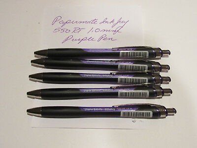 5 Paper Mate Inkjoy 550 Rt Retractable Ballpoint Pen Medium Purple Ink 1.0mm