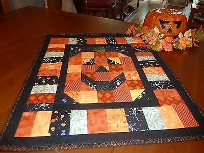 Handmade Quilted Smiling Halloween Jack-O-Lantern Wall Hanging or Table Topper - Quilted Halloween Wall Hangings
