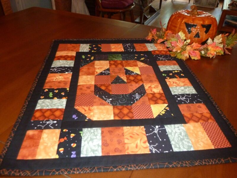 Handmade Quilted Smiling Halloween Jack-O-Lantern Wall Hanging or Table Topper