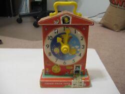 Teaching Clock Music Box Educational Fisher Price Wood 998 Vintage Classic 64-68