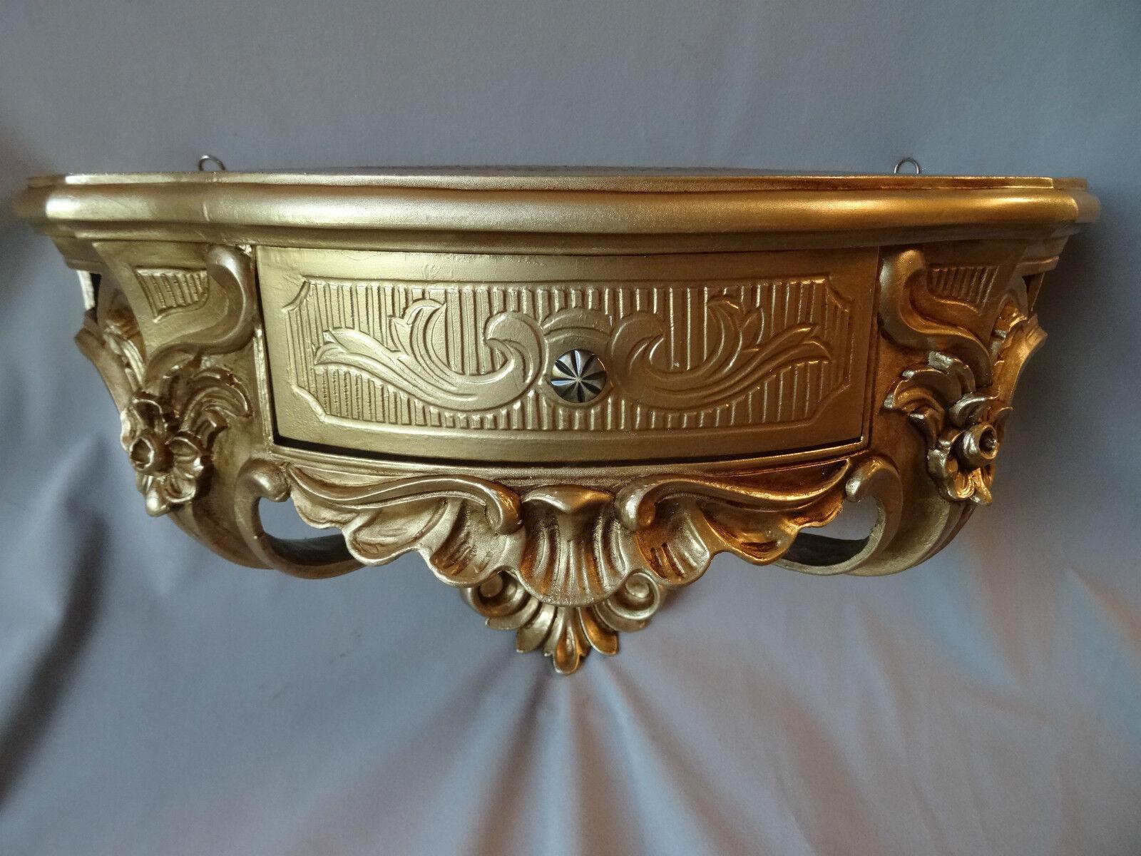 wandkonsole mit schublade spiegelkonsole wandregal barock gold 50x27 antik cp84 eur 69 90. Black Bedroom Furniture Sets. Home Design Ideas