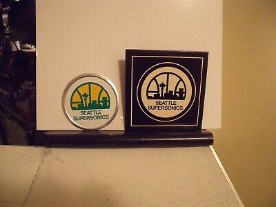 Emblem Label (Vintage NBA Seattle Supersonics Embossed Emblem Sticker Decal Label 1976 Avon )