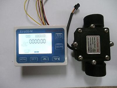 "G1-1/2"" 1.25 Flow Water Sensor Meter+Digital LCD Display control 1-120L/min NEW"