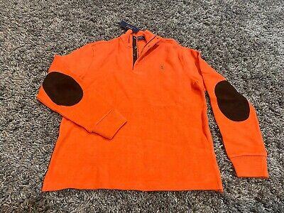 Polo Ralph Lauren half 1/2 zip sweater suede elbow patches orange green pony S