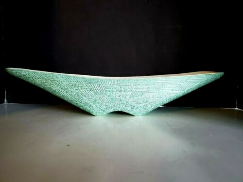 Vtg SHAWNEE Pottery LARGE Console Canoe Bowl Turquoise Hatch pattern 18""