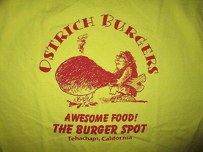 Ostrich Burgers - OSTRICH BURGER T SHIRT Tehachapi California BURGER SPOT Caveman Yellow XL