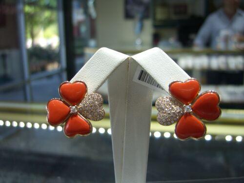 Designer 14 Karat Rose Gold Diamond And Blood Orange Coral Earring New Wow!!