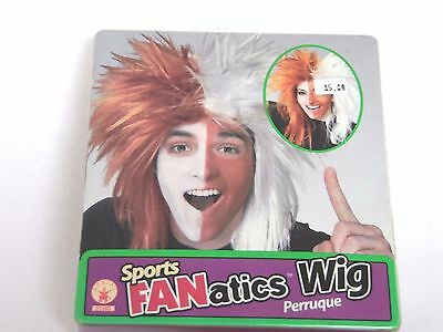 Deluxe White & Red Sports Fan Wig Halloween Costume Rubies Trick Or Treat - Halloween Sports Fan