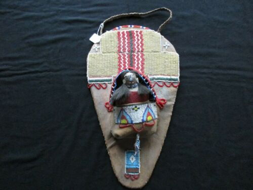NATIVE AMERICAN BEADED CHILDS CRADLEBOARD & DOLL with FETISH  SD-1021*05856