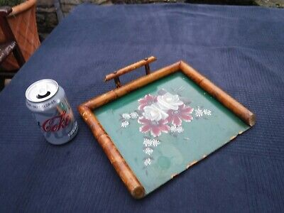 Vintage Decorated Crumb Tray with Bamboo Surround & Handle