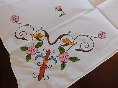 Italian Vintage Cotton Tea Bridge Cocktail Tablecloth Colorful Embroidery
