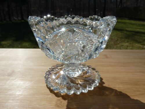 Early Pressed Flint Glass Hobstar Compote