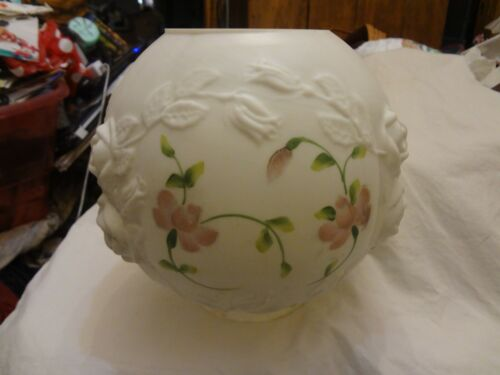 Vintag Fenton Glass Hand Painted Puffy Rose GWTW Banquet Palor Table Lamp Shade