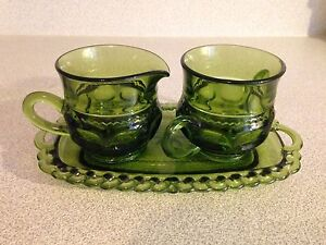 Vintage Forest Green Depression Glass Cream & Sugar with Tray