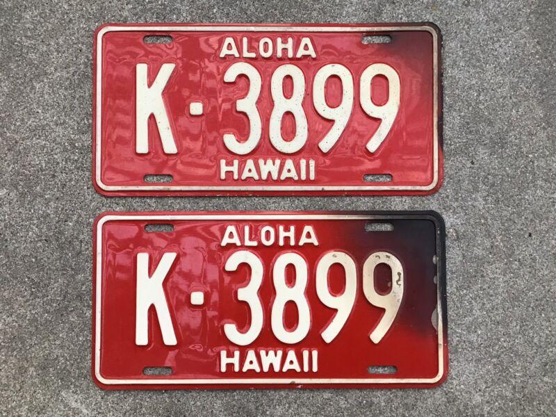 (2) - MATCHING PAIR 1957 - 1960 HAWAII LICENSE PLATES
