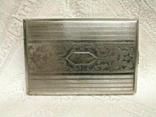 Vintage Evans Art Deco Silver Nickel Push Button Folding Cigarette Case