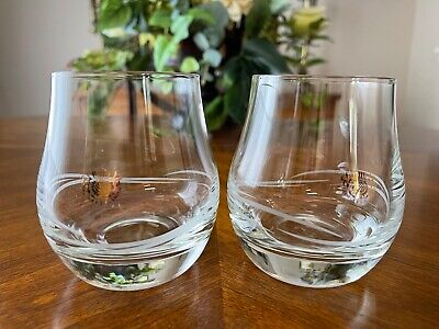 Two George & J.G. Smith Glenlivet Whiskey Glasses Etched Swirl Gold Stamp