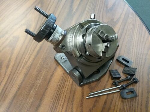 "4"" PRECISION TILTING ROTARY TABLE w. 3""/65mm 3-jaw chuck Part#TTSK-100CK- NEW"