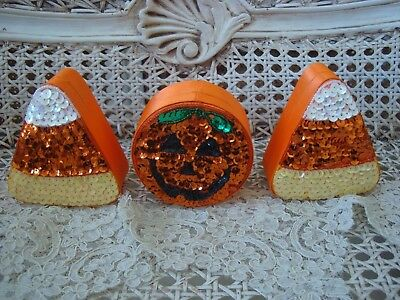 SET OF 3 HALLOWEEN SEQUIN TRINKET BOXES 2 CANDY CORN & 1 PUMPKIN **AWESOME**](Awesome Halloween Candy)