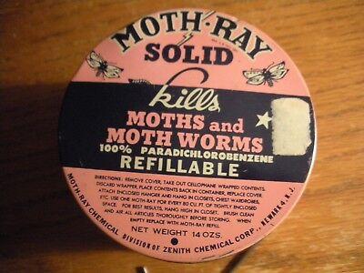 Vintage Advertising Tin, Moth Ray Solid, Zenith Chemical, Closet, Cedar