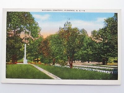1943 Vintage Postcard WWII  National Cemetery Florence SC Parris Island #6445