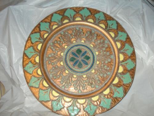 Vintage French Enamel Copper Plate Wall Hanging Albert Gilles Deco Nouveau