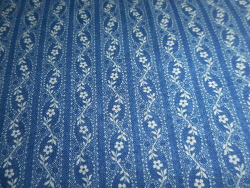 Antique Primitive Indigo Blue Prairie Floral Calico Cotton Fabric ~dolls quilt